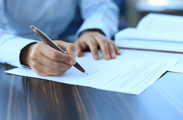 Signing a loan for approval