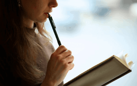 A lady is reading